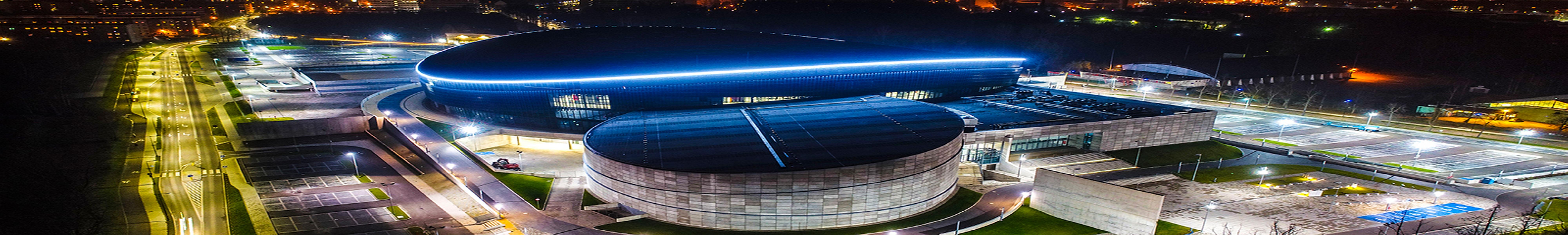 Podświetlona Arena Gliwice o zmroku